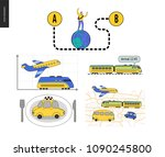 from point a to point b set of... | Shutterstock .eps vector #1090245800