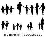 family and children holding...   Shutterstock .eps vector #1090251116