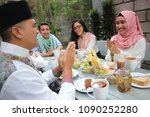 group happy young muslim... | Shutterstock . vector #1090252280