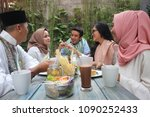 group of happy young muslim... | Shutterstock . vector #1090252433