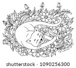 Stock vector vector illustration zentangl a sleeping cat surrounded by flowers coloring book antistress for 1090256300