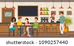 people sitting in a coffee shop.... | Shutterstock .eps vector #1090257440