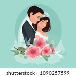 bride and groom. couple.... | Shutterstock .eps vector #1090257599