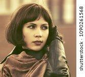 sad beautiful fashion woman... | Shutterstock . vector #1090261568