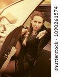 beautiful fashion woman sitting ... | Shutterstock . vector #1090261574