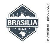 brasilia brazil travel stamp... | Shutterstock .eps vector #1090267274
