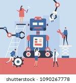 making a robot   flat design... | Shutterstock .eps vector #1090267778