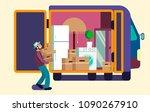 man packing moving truck full... | Shutterstock .eps vector #1090267910