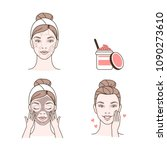 steps how to make facial... | Shutterstock . vector #1090273610