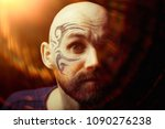 tattoo on the face   man with a ... | Shutterstock . vector #1090276238