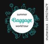 round luggage background.... | Shutterstock .eps vector #1090276679