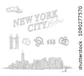 new york city travel sketches ... | Shutterstock .eps vector #1090277570