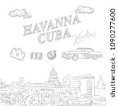 havanna  cuba  travel marketing ... | Shutterstock .eps vector #1090277600