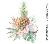 watercolor tropical fruits and... | Shutterstock . vector #1090278743