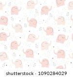 cute pink elephants vector... | Shutterstock .eps vector #1090284029