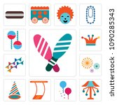 set of 13 simple editable icons ...   Shutterstock .eps vector #1090285343