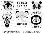 Stock vector cute vector set lion panda elephant zebra penguin face one object on a white background 1090285700