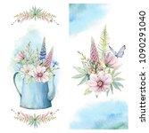 handpainted watercolor country... | Shutterstock . vector #1090291040