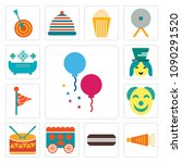 set of 13 simple editable icons ... | Shutterstock .eps vector #1090291520