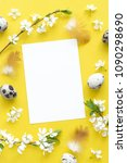 flat lay of eggs and blossom... | Shutterstock . vector #1090298690