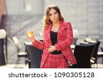young fashion woman with long... | Shutterstock . vector #1090305128