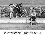 group of teenage girls in... | Shutterstock . vector #1090305134