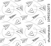 sketched paper plane seamless... | Shutterstock .eps vector #1090312073