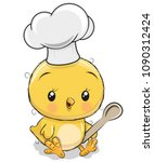 cute caroon chicken in a cook... | Shutterstock .eps vector #1090312424