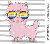 cool cartoon cute lama with sun ... | Shutterstock .eps vector #1090312430