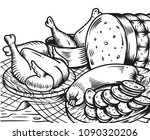 chicken and sausage on the... | Shutterstock .eps vector #1090320206