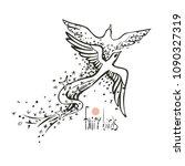 two fairy tale birds in love... | Shutterstock .eps vector #1090327319