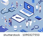 different medical staff with... | Shutterstock . vector #1090327553