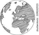 globe vector line illustrator ... | Shutterstock .eps vector #109032923