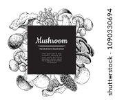 mushroom hand drawn vector...   Shutterstock .eps vector #1090330694