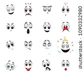 set of various face emoji icons....   Shutterstock .eps vector #1090332980