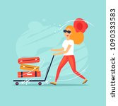 woman running with a suitcase... | Shutterstock .eps vector #1090333583