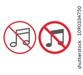 no music line and glyph icon ... | Shutterstock .eps vector #1090334750