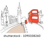 digital drawing of london tower ... | Shutterstock .eps vector #1090338260