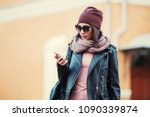 young fashion woman in... | Shutterstock . vector #1090339874