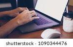 asian business women using... | Shutterstock . vector #1090344476