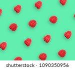 raspberry berries pattern on... | Shutterstock . vector #1090350956