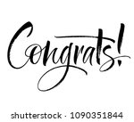 congrats lettering. handwritten ... | Shutterstock .eps vector #1090351844