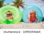 cute little boy and girl play... | Shutterstock . vector #1090354664