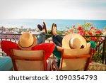 happy couple relax on balcony... | Shutterstock . vector #1090354793