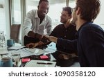businessmen discussing work... | Shutterstock . vector #1090358120