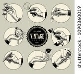 Set Of Round Icons In Vintage...