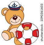 cute sailor teddy bear with a... | Shutterstock .eps vector #1090361603