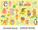 beach animals hand drawn style  ... | Shutterstock .eps vector #1090376540