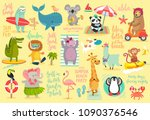 beach animals hand drawn style  ... | Shutterstock .eps vector #1090376546