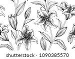 seamless flower pattern... | Shutterstock .eps vector #1090385570